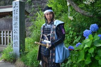 上杉おもてなし武将隊の上杉景勝さんです