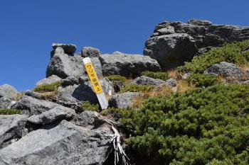 ワリモ岳の頂上(標高2888m)