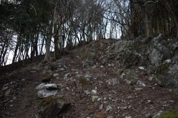 岩の多い急坂