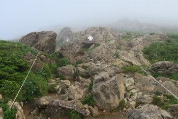蛇紋岩の急坂