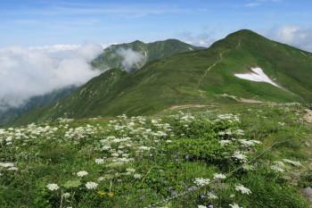 避難小屋から中岳方向