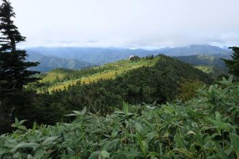 登山道から見た駒の小屋